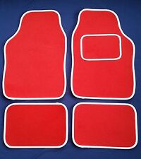 Red Car Mats With White Trim For Fiat 500 500L Bravo Grande Punto Panda Stilo
