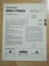 Original Owner / User Manual for the Pioneer PD-7100 CD Player