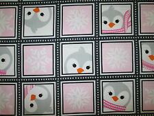 PENGUIN SQUARES SNOWFLAKES PINK GRAY PENGUINS WINTER COTTON FABRIC BTHY