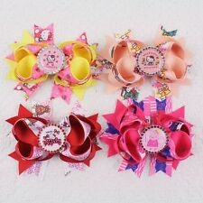 "New 4pcs 4""  Girl baby kitty pig hair bows with diamond bottle cap clip A2005 Y"
