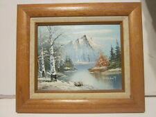 OIL PAINTING ON BOARD FRAMED WINTER MOUNTAIN & STREAM SCENE SIGNED VINCENT