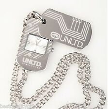 MARC ECKO UNLTD. SILVER TONE CHAIN+DOG TAG ENGRAVED LOGO WATCH E09529G1+BOX