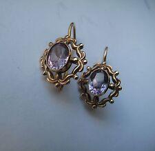 Russian Soviet Earrings Rose Pink Gold Alexandrite stone hook loop 583 Серьги