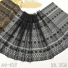 1 Yard Black Retro Crochet Stretch Lace Trim For DIY Craft Lingerie Wide 8 1/2""