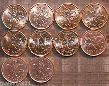 1990 TO 1999 BU CANADA 1 CENT MINT STATE (10 COINS)   FREE $HIPPING IN CANADA!