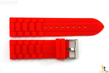 24mm Fits Fossil Red Silicon Rubber Watch BAND Strap
