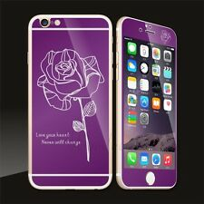 Rose Mirror Tempered Glass Front+Back Screen Protector For iPhone 5 5S 6 6S Plus