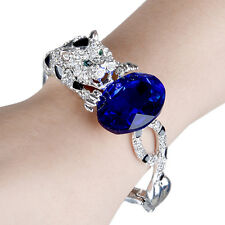 AIMO Leopard Panther Oval Bracelet Bangle Sapphire Blue Rhinestone Crystal