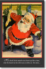 Twas the Night Before Christmas - Santa Coming Down the Chimney - NEW Art POSTER