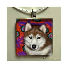 RED SIBERIAN HUSKY DOG NECKLACE JEWELRY CHARM PET ART GIFT GLASS TILE PENDANT