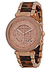 Michael Kors Ladies Parker Chronograph Rose Gold Tortoise Watch  - MK5538