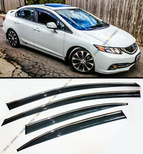 MUG STYLE SMOKED WINDOW VISOR RAIN/SUN SHADE W/ CLIPS FOR 2012-14 HONDA CIVIC 4D