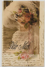 BRIDE*ELUSIVE*FRENCH SCRIPT COLLAGE*QUILT ART FABRIC BLOCK 5X7