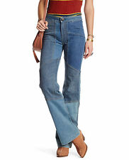 Free People Alissas Patchwork Stretch Flare Jean in Denim Blue Size 27 NEW