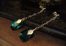 Vintage Style Emerald Green  Crystal Long Drop Pierced Earrings