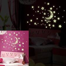 Rimovibile Luminoso luminoso al Buio Stella Luna Fluorescente Da Parete, Arte