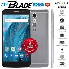 """New Unlocked ZTE Blade A910 Grey 5.5"""" HD AMOLED 4G LTE Android Mobile Phone"""