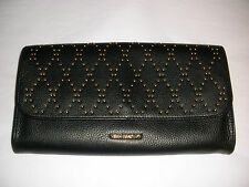 Vera Bradley MICRO-STUD HARPER CLUTCH Tags BLACK LEATHER Gold Studs Cotton Lined