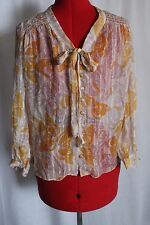 Anthropologie Womens Blouse Top Anna Sui Silk Butterfly Sheer Peasant Career 2