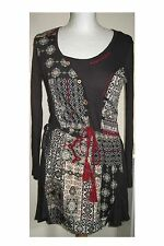 JOE BROWNS LONG SLEEVED TUNIC DRESS IN DARK GREY AND FLORAL DESIGN SIZE 10 UK