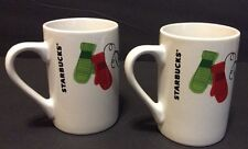 2 Starbucks Coffee Mugs 10 Ounces Each Christmas Mittens & Doves