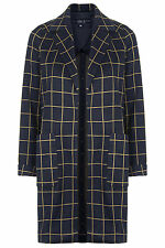 BNWT TOPSHOP NAVY BLUE AND MUSTARD GRID PRINT DUSTER COAT SIZE 8