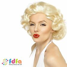 BLONDE MARILYN MONROE SHORT BOMBSHELL WIG ladies womens fancy dress costume