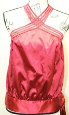 Guess By Marciano Women Burgundy Silk Like Blouse Halter Sexy Medium