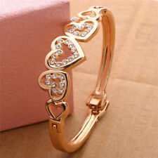 New Fashion Women Lady Girl Gold Plated Crystal Cuff Bangle Heart Charm Bracelet