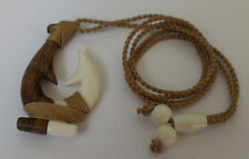 Hawaiian White Buffalo Bone Wood Traditional  Men Fish Hook Necklace/Chocker