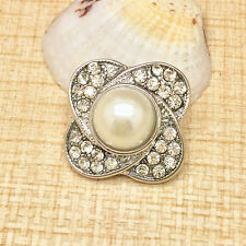 Jewelry Pearl Rhinestone Charm Chunk Snap Button fit for Noosa Bracelet GD124
