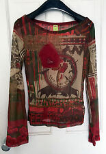 SAVE THE QUEEN sheer mesh top L pewter bull medallion charm stretchy Corrida