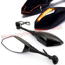 BLACK MOTORCYCLE LED TURN SIGNAL REARVIEW MIRRORS FOR HONDA CBR600RR 1000RR 500R