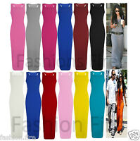 Plus Size Womens Ladies Muscle Racer Back Long Vest  Jersey Maxi Dress UK 16-26