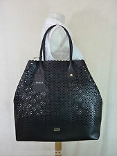NWT FURLA Onyx/Black Perforated Convertible Melissa Tote Bag $378  Made in Italy