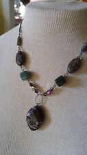 VTG Necklace Artisan REAL gemstone green Moss Agate Chocolate Jasper Crystals