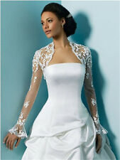 White/Ivory Long Sleeve Lace Bridal Jacket Bolero Shrug For Wedding Dress P14