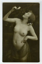 c 1920 Sexy French Deco LOVELY LADY NUDE  risque photo postcard