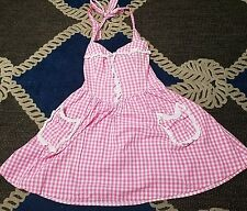 HELL BUNNY Shay Rockabilly Gingham Dress Size large pink white pin up