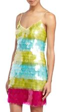 $495 THEIA Sequin Lime Green Pink Blue Cocktail Party Vacation Dress 8