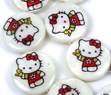 18mm Disney Hello Kitty Mother Of  Pearl Coin Disc Beads 16""