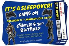 BIRTHDAY PARTY INVITATIONS Sleepover Video Gamer Ticket Style