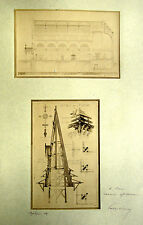 4 PHOTOS ARCHITECTURE DIPLOME 1891 ÉGLISE PIERRE SIMON LÉON LEGENDRE