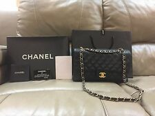 AUTHENTIC Chanel Classic Flap in Black Caviar Leather Open for Layaway
