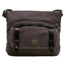 Troop London - Black Canvas Classic Across Body/Messenger Bag with Leather Trim
