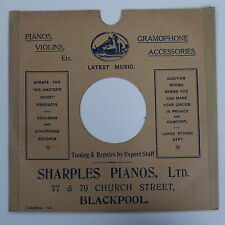 "78rpm 10"" card gramophone record sleeve SHARPLES PIANOS , BLACKPOOL"
