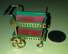 Dollhouse Miniature Doll Rolling Tea Cart Ideal 2 Removable Green Trays Japan