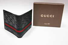 New Authentic Gucci Men's Black Guccissima Leather Web Bifold Wallet
