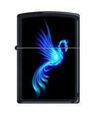 Zippo 0249, Phoenix-Burning Blue, Black Matte Finish Lighter, Full Size