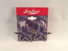 NWT Authentic Lucky Brand Star Black & Silver Earrings NEW--- FREE SHIPPING